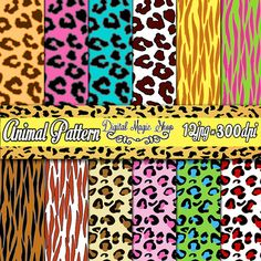 12 Colored Animal Print Digital Paper Cheetah Leopard Tiger - Digital Scrapbook Paper and Printable Backgrounds - Instant Download by DigitalMagicShop, $2.00