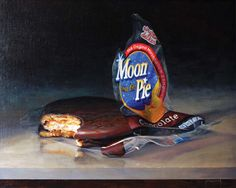 "Cindy Procious, Moon Pie, Oil on panel, 16"" x 20""  available at Haynes Galleries"