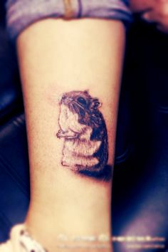 Hamster #tattoo on the leg