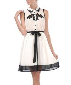 Cream & Black Pom-Pom Dress by A'reve #zulily #ad *pretty