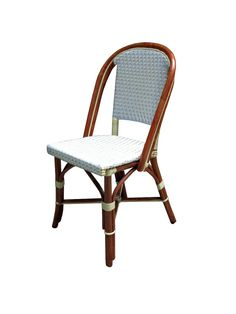 WA HOO DESIGNS, FRENCH BISTRO SIDE CHAIR, HK81, WEAVE: STRAIGHT, COLORS: WHITE IVORY, WOOD FINISH:DARK HONEY