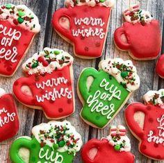 Fancy Cookies, Iced Cookies, Cupcake Cookies, Cookies Et Biscuits, Cupcakes, Christmas Sugar Cookies, Holiday Cookies, Christmas Desserts, Christmas Baking