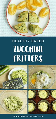 Learn how to use up that fresh zucchini in a recipe your babies and toddlers will love with these muffin-tin Baked Zucchini Fritters. Toddler Meals, Kids Meals, Toddler Food, Baked Zucchini Fritters, Toddler Muffins, Baby Food Recipes, Healthy Recipes, Easy Recipes, Healthy Baking