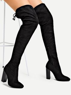 8c5275bfdc86 Casual Almond Toe OTK Thigh High Side zipper Black Over The Knee Plain Boots  Hot