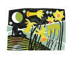 Clare Curtis Greetings Card Narcissus Love Cards, Craft Items, Weekend Is Over, Paper Goods, Printmaking, Stationery, Greeting Cards, Felt, Gift Wrapping