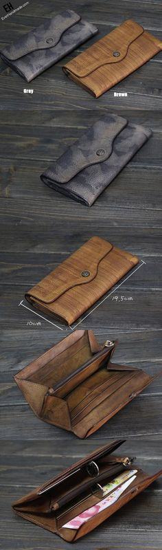 Handmade Men long leather wallet men multi cards vintage gray brown wallet for him