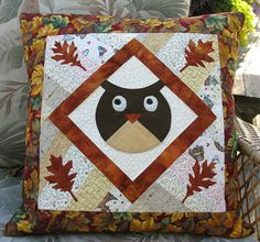 Owl pillow, use as quilt blocks, could be so cute!