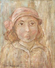 Tadeusz MAKOWSKI,Dziewczynka w kapelusiku, olej, płótno, 29 x 23,5 cm