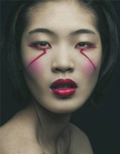 Chiharu Okunugi photographed by Mathieu Vladimir Alliard ---graphic makeup looks Makeup Inspo, Makeup Inspiration, Beauty Makeup, Hair Makeup, Geisha Makeup, Makeup List, Beauty Skin, Make Up Art, Eye Make Up