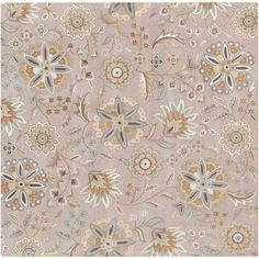 Athena Sky Blue and Tan Square: 4 Ft Rug - (In Square)