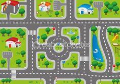 Jugar coche mat alfombra para niños — Ilustración de stock #57346383
