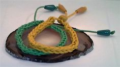 Green and Yellow Wax Cord Lucet Braided Bracelets with Wooden Toggles