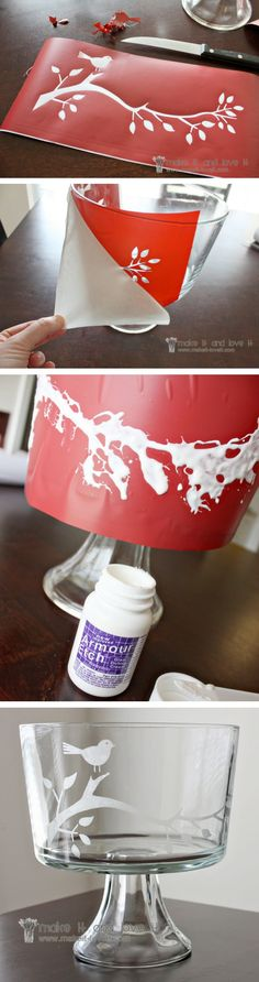 DIY ::  Glass Etching ~ Didn't know this stuff existed! It's a cream like acid that roughens up glass surfaces, so it's permanent. Use stencils to create designs, names, or initials.
