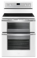 6.7 Cu. Ft. Total Capacity/ 2.5 Cu. Ft. Upper Oven Capacity/ 4.2 Cu. Ft. Lower Oven Capacity/ Frozen Bake Technology/ True Convection Cooking/ FlexHeat Triple Radiant Element/ Convection Conversion/ SteamClean Option/ Temperature Sensor/ Rapid Preheat/ Easy-Wipe Ceramic Glass Cooktop/ Dishwasher-Safe Knobs/ Sabbath Mode/ White Finish