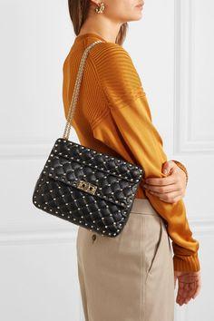 Valentino valentino garavani the rockstud spike medium quilted leather shoulder bag. Valentino 2017, Valentino Gowns, Valentino Handbags, Valentino Purse, Valentino Rockstud Bag, Clothes 2019, Best Bags, Black Quilt, Quilted Leather