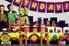 Superhero Party Dessert Table {Birthday Ideas} - Spaceships and Laser Beams