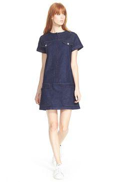 See by Chloe Lace Trim Denim Dress