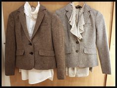 Brown tweed blazers with girly shirts. Google Image Result for http://alloveralbany.com/images/kaitlin_fall_women_tweed.jpg