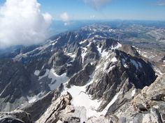Rock Climbing Photo: Looking south from the Grand Teton summit. From ri...