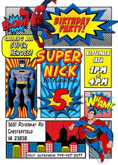 Superhero Invitation Batman Invitation por LaughingWillowDesign