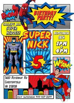 Superhero Invitation Batman Invitation por LaughingWillowDesign