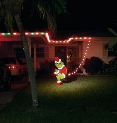 the grinch stealing christmas lights in our front yard - Grinch Stole Christmas Lights