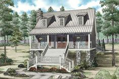 Petits Cottages, Cottage Design, House Design, Low Country Homes, Cottage Style House Plans, Country House Plans, Cottage Ideas, Coastal House Plans, Country Houses