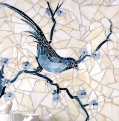 #natural #stone #delft #mosaics #birds #highend