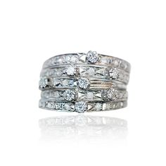 Five small Rings with Diamonds   5 Diamantringe mit Steg aus 750 Weissgold, 0,399ct Diamanten