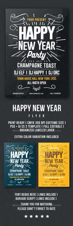 2016 Happy New Year Flyer Template PSD, Vector AI #design Download: http://graphicriver.net/item/happy-new-year-flyer/13971335?ref=ksioks