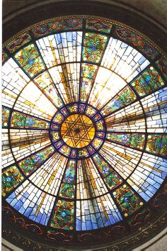 Under our beautiful stained glass dome