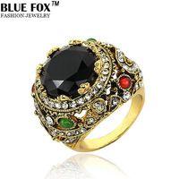 personalità chic wedding shimmer e l'eleganza di oro antico grande pietra verde anello di colore per le donne BF-0-5