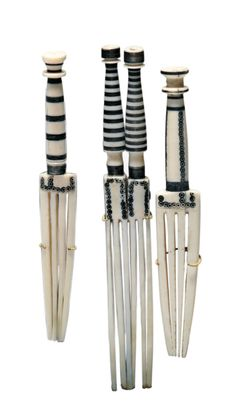 Africa | Three hair pins from the Fur people of Sudan | Ivory | 1,560€ ~ Sold (Sept '07)