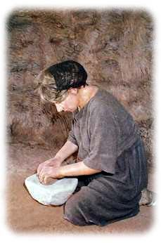 Bronze Age woman. This is a great example of a hair net common to this time period.