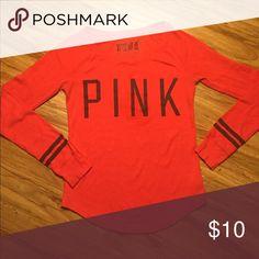 PINK VS longsleeve pajama shirt in red size medium Great condition. Red long sleeve PINK brand pajama shirt size medium PINK Victoria's Secret Intimates & Sleepwear Pajamas