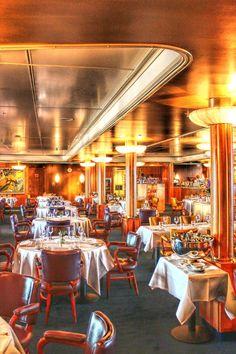 The Club Room restaurant on the old Ocean Liner SS Rotterdam in Rotterdam Holland America Line, Ways To Travel, Retro Design, Rotterdam, Deco, Ocean, Indoor, Restaurant, Cruise Ships