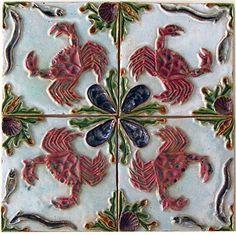 Rafael Bordalo Pinheiro Azulejos Art Nouveau, Art Nouveau Tiles, Tile Art, Mosaic Tiles, Tiling, Seaside Home Decor, Traditional Tile, Antique Tiles, Portuguese Tiles