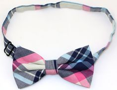 Mens and Boys Cotton Colorful  Plaid Handmade Bow Tie (Pink)
