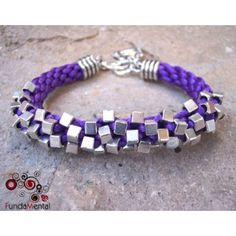 Purple Kumihimo and Silver Cube Bracelet