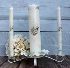 Beautiful Silver Unity Candle Set