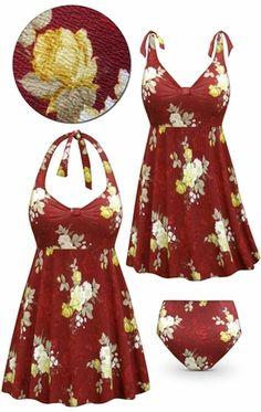 e581dab5f6b59 Customizable Plus Size Burgundy Floral Print Halter or Shoulder Strap 2pc  Swimsuit/SwimDress 0x 1x 2x 3x 4x 5x 6x 7x 8x 9x