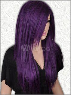 Long Straight Dark purple /Black Mix Wig For Women - Milanoo.com