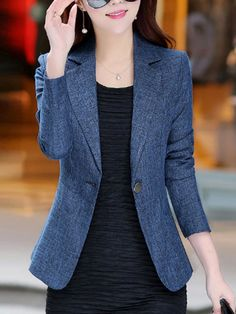 Women's daily / work basic / street chic spring / fall plus size regular blazer. Lid colored notch lapel long sleeve polyester / others blue xl / xxl / xxxl 2019 -? Blazer Outfits Casual, Blazer Outfits For Women, Classy Work Outfits, Blazer Jackets For Women, Business Casual Outfits, Blazer Fashion, Blazers For Women, Suits For Women, Clothes For Women
