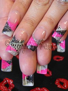Pink and black and silver acrylic nails