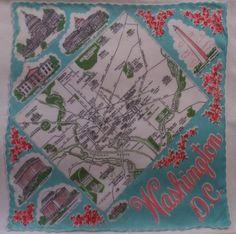 VINTAGE WASHINGTON D. C. SOUVENIR MAP HANKIE HANKY HANDKERCHIEF #vintage #washingtondc