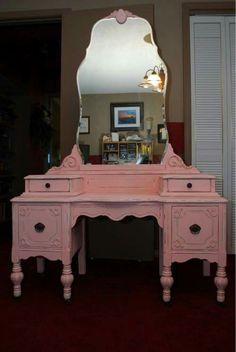 Old pink vanity dresser