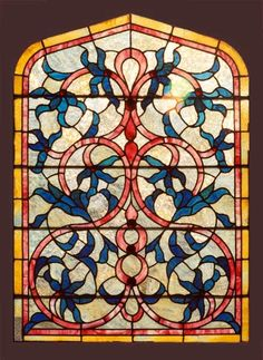 Victorian Stained Glass - Circa: 1885 -  Victorian, stained and jeweled window. Extensive use of rippled and hand rolled opalescent glass. Original glass throughout and original oak frame.