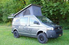 VW T5 4x4 mit Höherlegung, Schlafdach, Heckträger und Beadlockräder