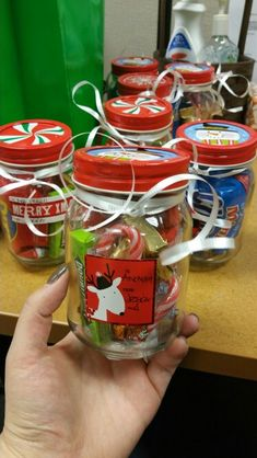 DIY Christmas snack jar gifts for co-workers