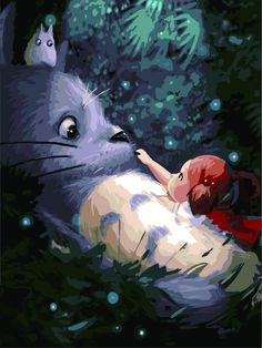 [Visit to Buy] No Frame Hayao Miyazaki Totoro DIY Painting By Numbers Kits paintings for living room wall Coloring Painting Art Studio Ghibli, Studio Ghibli Movies, Hayao Miyazaki, Oil Painting On Canvas, Diy Painting, Canvas Paintings, Modern Paintings, Learn Painting, China Painting